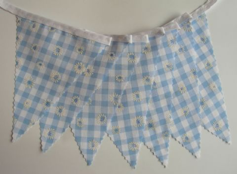 BUNTING Nursery - Blue Gingham with Daisies - 3m/10ft or 5m/16ft